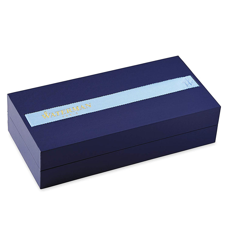 Waterman Elegance Black, Fountain Pen with Medium Solid Gold Nib and Blue Ink gift box.