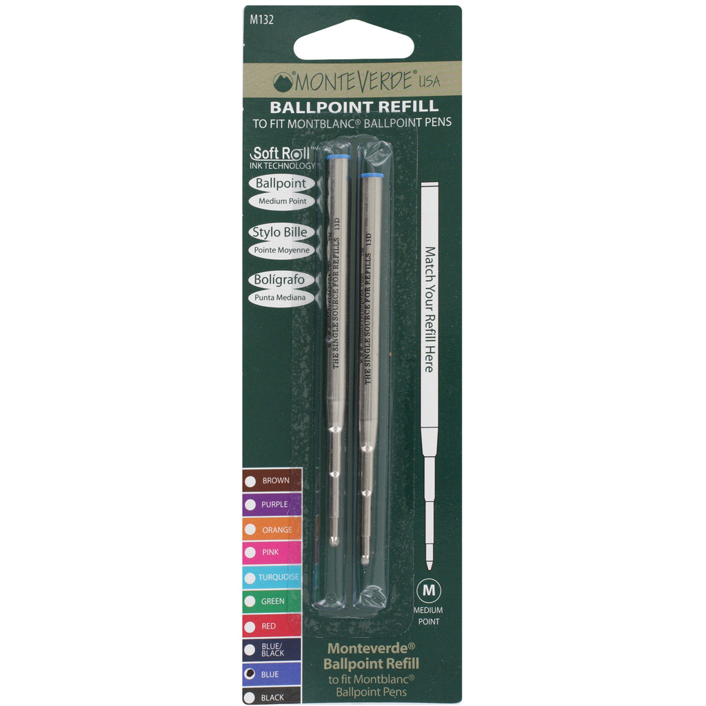 Mont Blanc Ball Point Pen Refills by Monteverde, Medium Point, Pack of 2 - Blue Ink