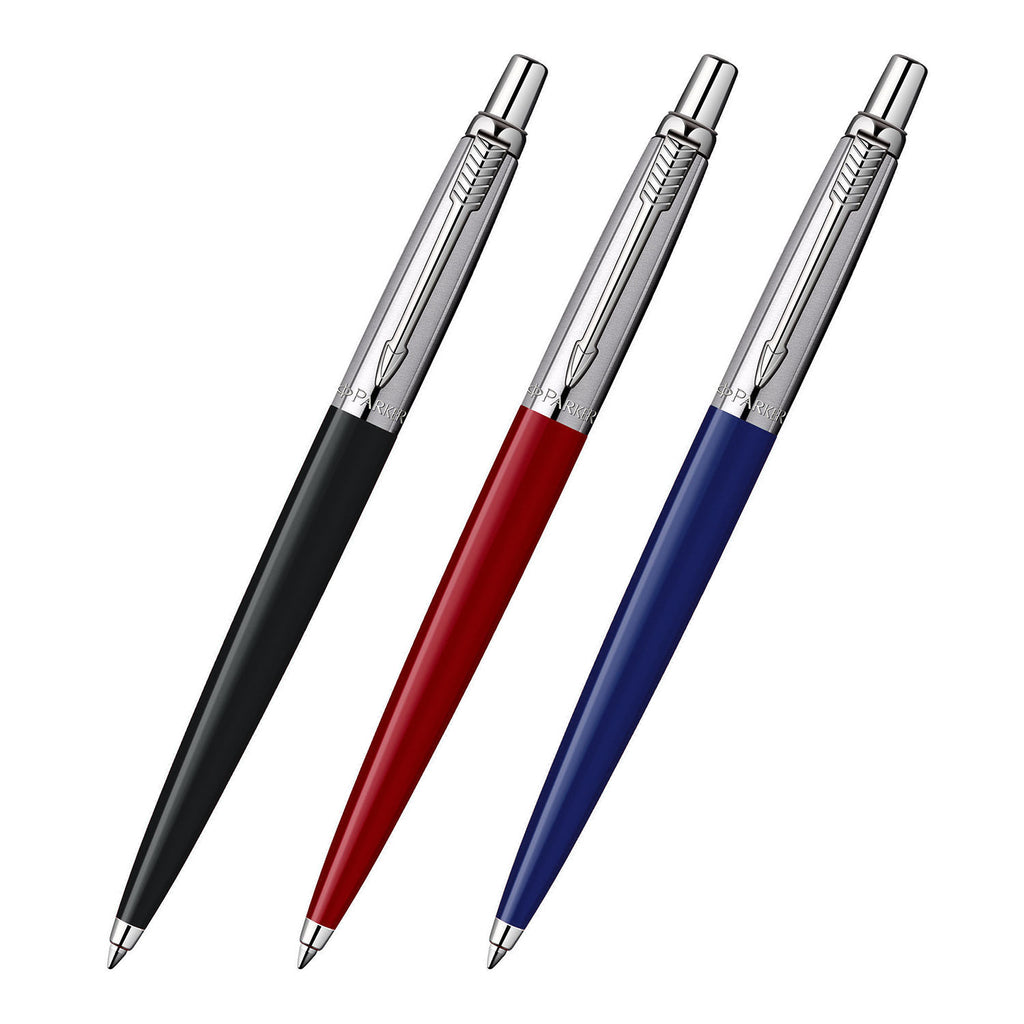Assorted colors of Black, Red and Blue Parker Jotter Retractable Ballpoint Pens with Medium Point Black Ink