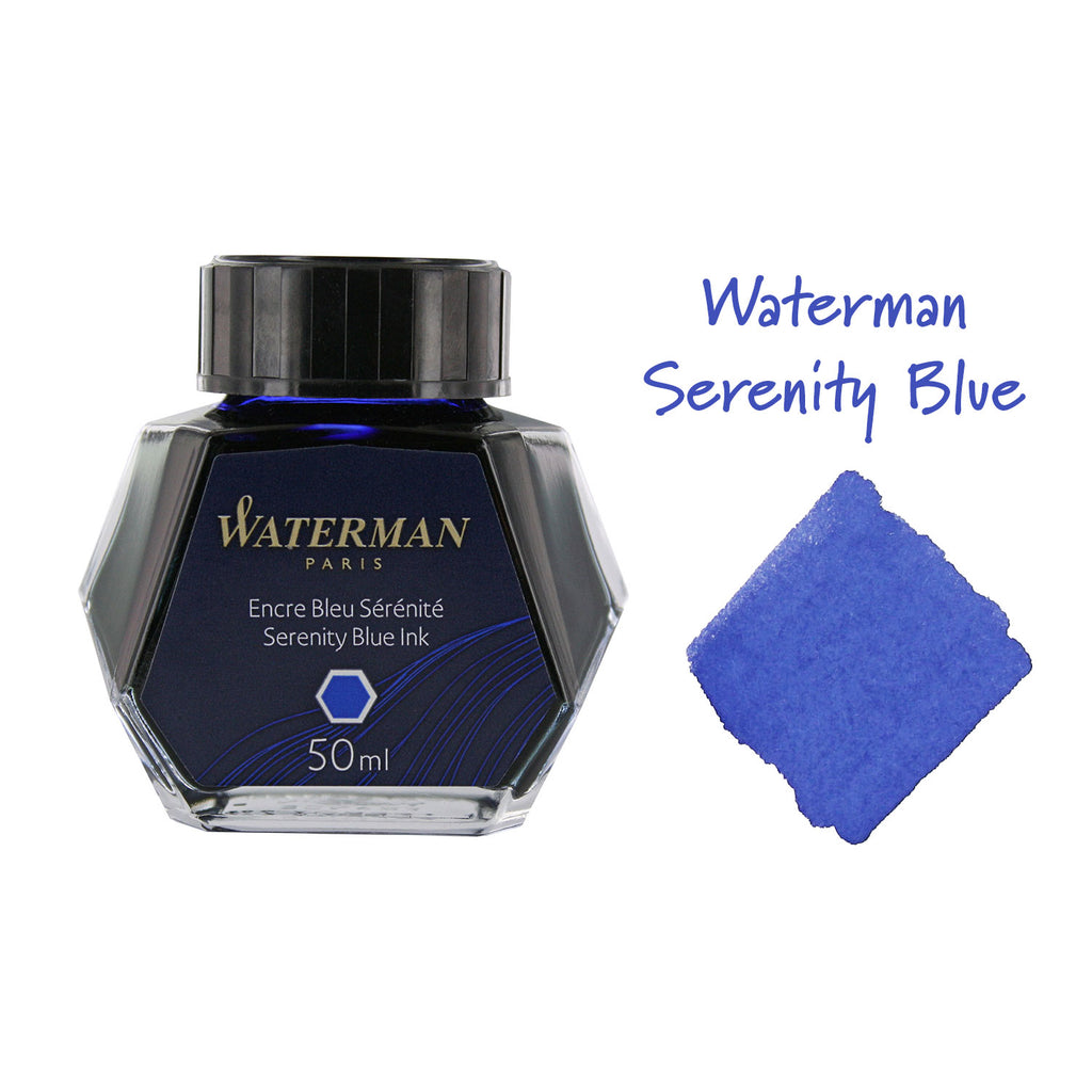 Waterman Serenity Blue Fountain Pen Bottled Ink For Fountain Pens next to ink swab of bottled fountain pen ink.