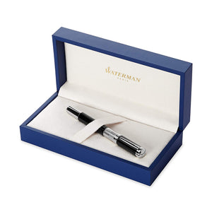 Waterman Elegance Black, Fountain Pen with Medium Solid Gold Nib and Blue ink in Waterman gift box.