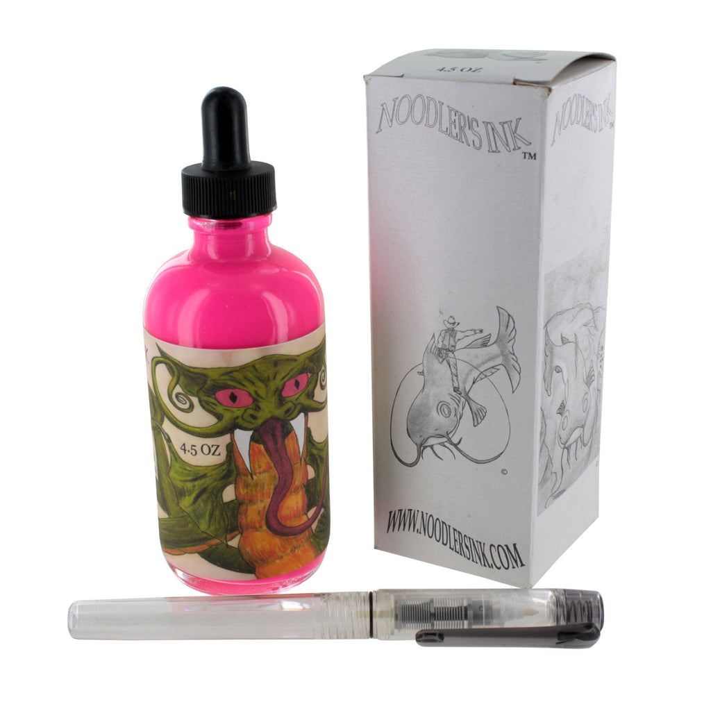 Noodler's Ink Fountain Pen Bottled Ink w/ Eyedropper, 4.5 oz. w/ Free Pen - Highlighter Dragon Catfish Pink