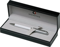 Sheaffer Intensity Deluxe White Barrel with Engraved Chrome Spiral Cap Ball Point Pen