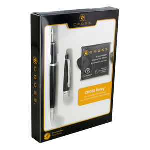 Cross Bailey Black Lacquer Fountain Pen with Medium Nib in gift box with 6 Black Ink Fountain Pen Ink Cartridges
