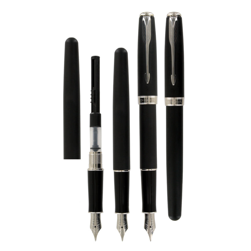Parker Sonnet Matte Black CT Fine Point Fountain Pen Gift Set with Notebook