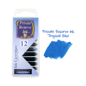 Private Reserve Ink Short International Ink Cartridges, Pack of 12  Tropical Blue