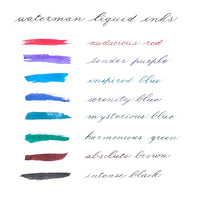 List and Ink Swab Colors of all Waterman Fountain Pen Bottled Ink colors