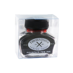 Thornton's Luxury Goods Fountain Pen Bottled Ink in the clear fold packaging.