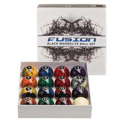 Fusion Black Marbelite Ball Set, Pool Balls, Cue and Case - Olhausen Online