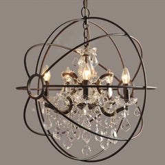 Iron Globe Pendant w/ Crystal Accents, Chandeliers, Meva - Olhausen Online