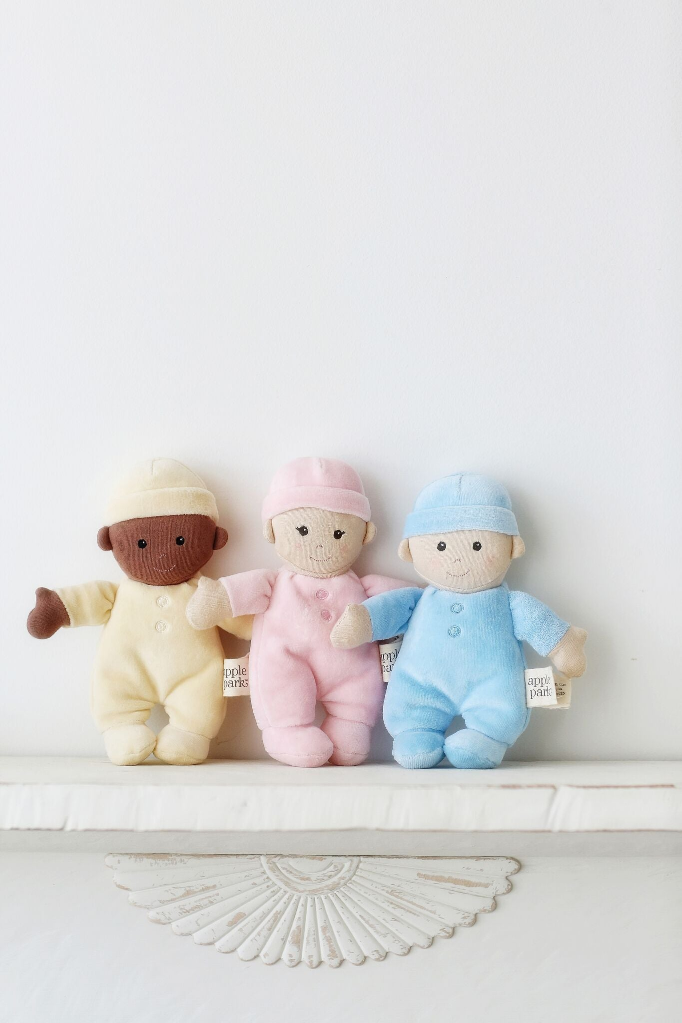 Apple Park First Baby Doll Blue. Cuddly soft toy.