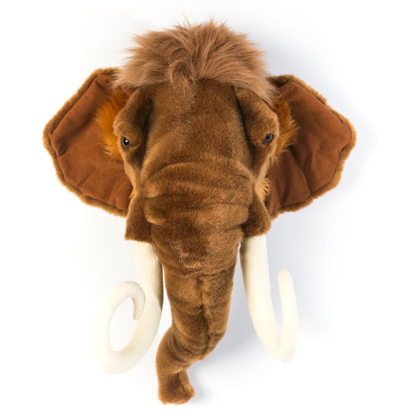 Wild and Soft Arthur the Mammoth head plush wall decor. Trophy Head.