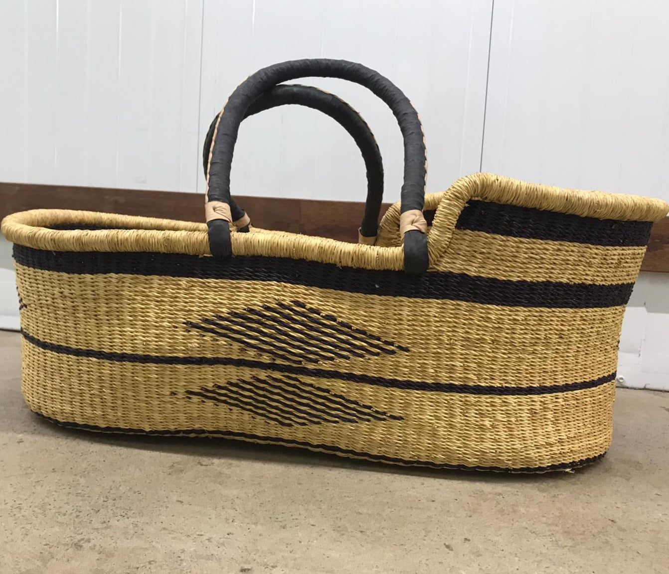 Baby Moses Pattern Basket - Natural Black Handles