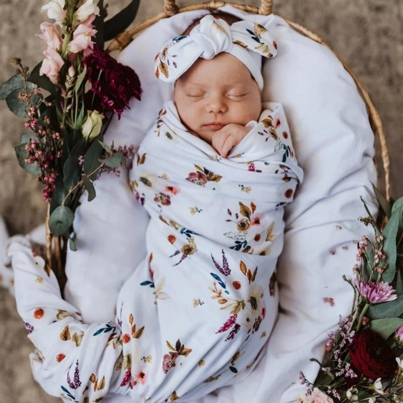 Snuggle Hunny Jersey Wrap and headband Boho - Angus & Dudley Collections