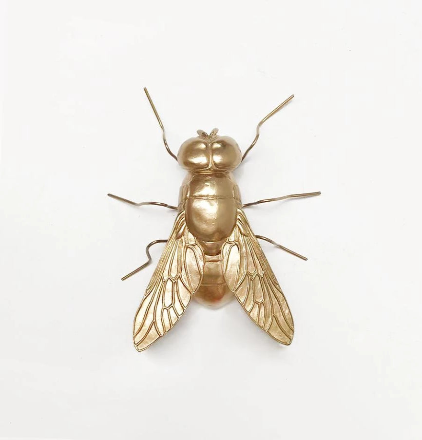 White Moose Buzz the gold fly ststue. Kids bedroom decor.