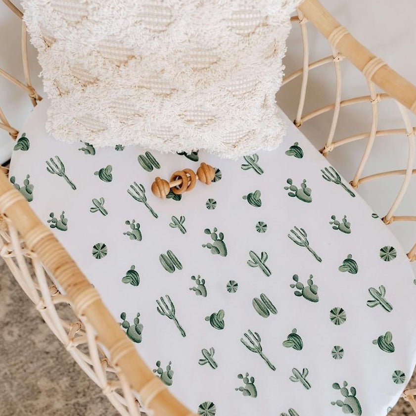 Snuggle Hunny Kids Cotton Fitted Bassinet Sheet - Cactus