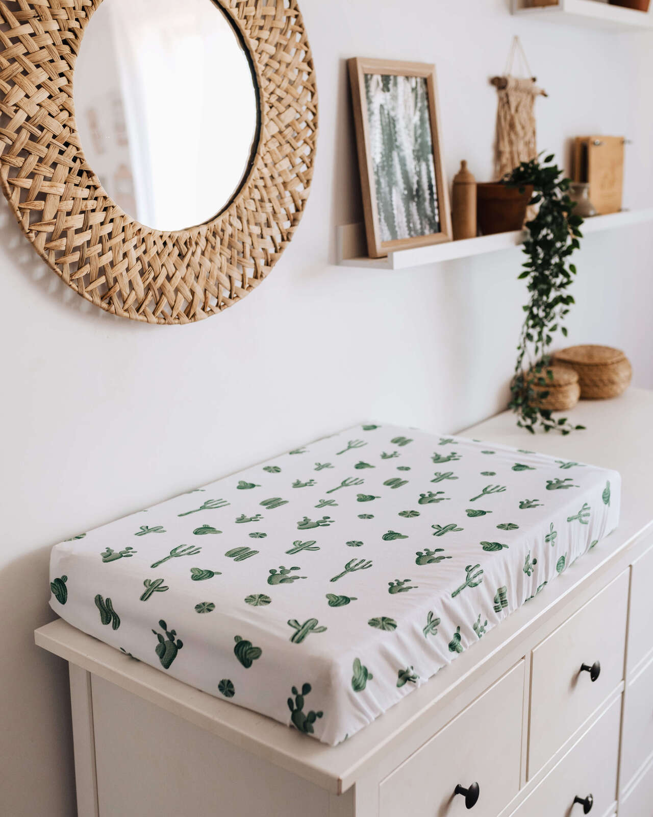Snuggle Hunny Kids Fitted Bassinet & Change Pad Cover - Cactus