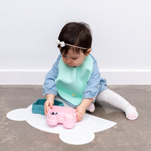 Catchie Bib - Mint & Grey