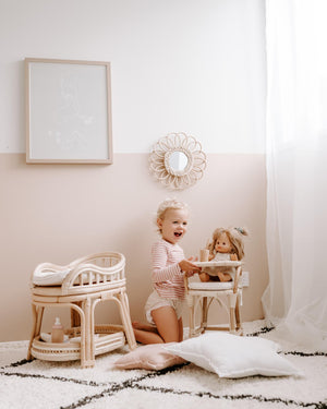 Tiny Harlow Doll's Rattan Change Table