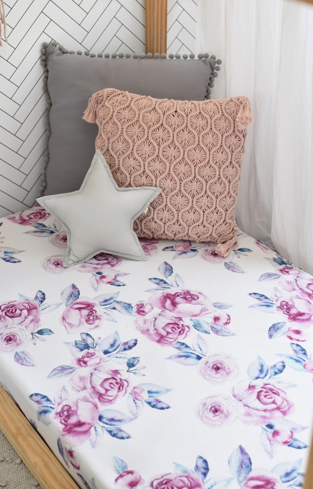 Snuggle Fitted Cot Sheet - Lilac Skies - Angus & Dudley Collections