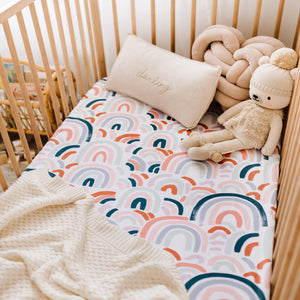 Snuggle Fitted Cot Sheet - Rainbow - Angus & Dudley Collections