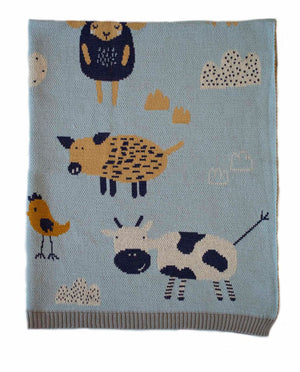 Baby Knit Cotton Blanket - Farmyard