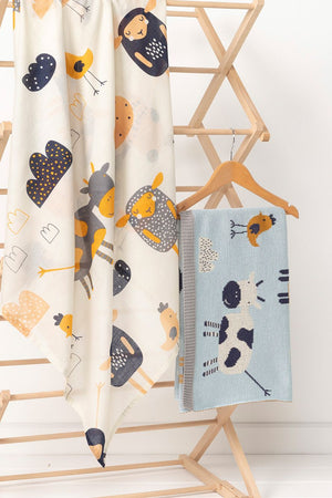 Baby Cotton Muslin Wrap - Farmyard