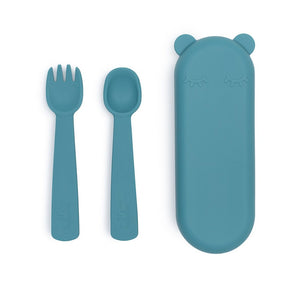 We Might Be Tiny Feedie Fork & Spoon Set - Blue Dusk -  Angus & Dudley