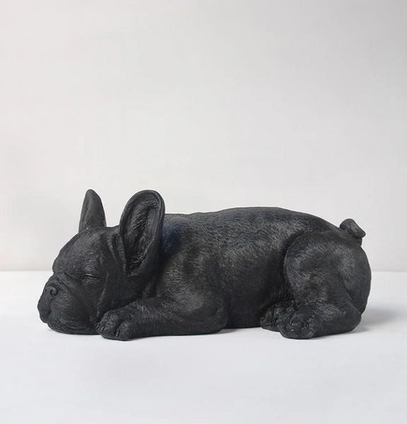Sleeping Frenchie Dog Statue - Black - Angus & Dudley Collections