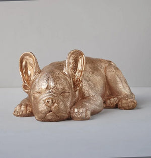 Sleeping Frenchie Dog Statue - Gold - Angus & Dudley Collections