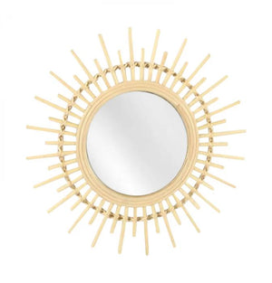 Round Natural Bamboo Sun Mirror - Small - Angus & Dudley Collections