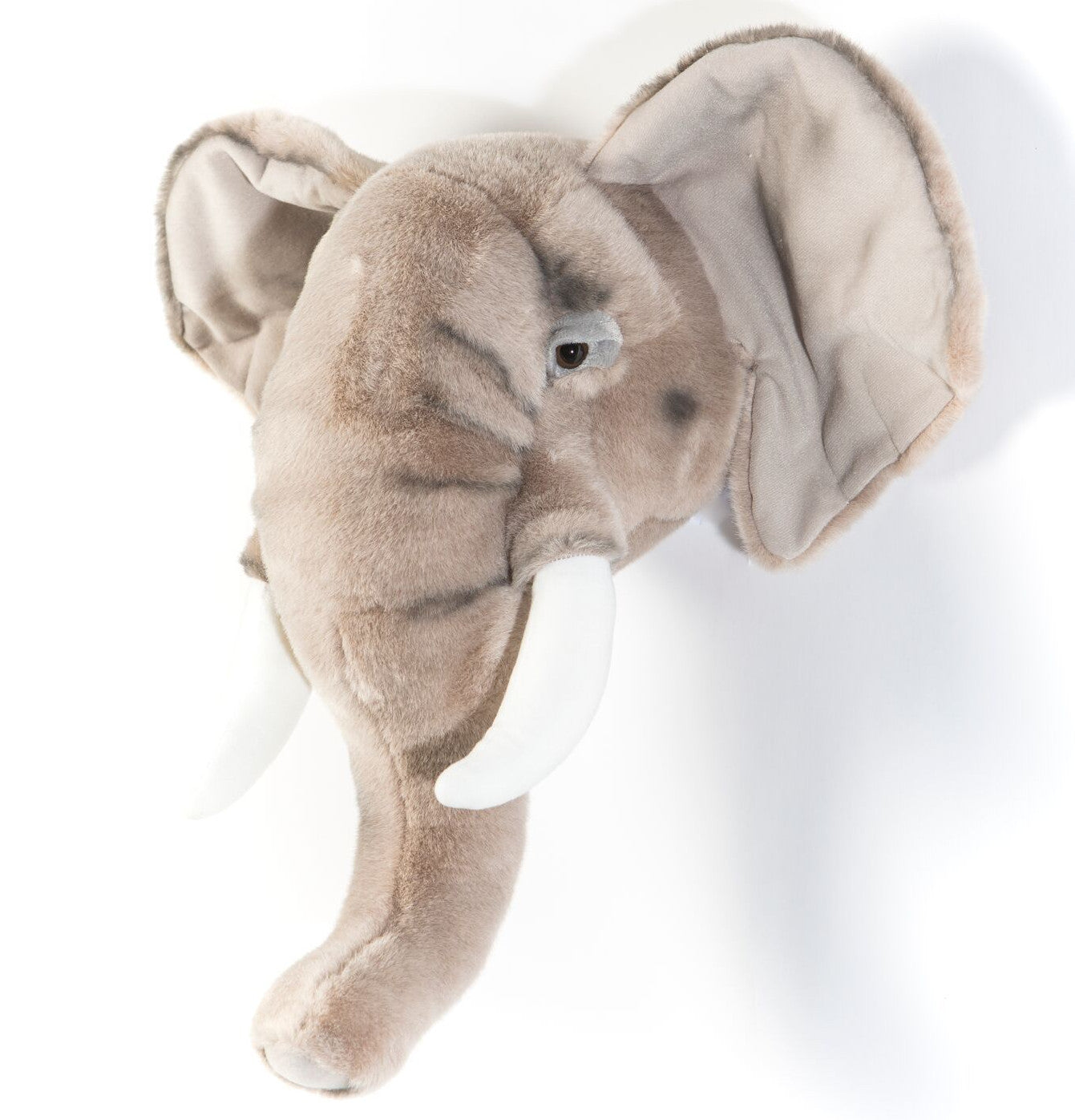 Wild and Soft George the elephant head plush wall decor.