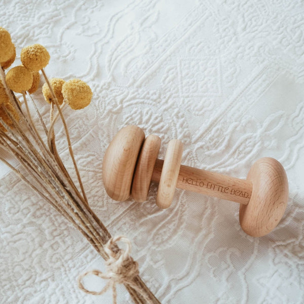 Keepsake Baby Wooden Rattle - Angus & Dudley Collections