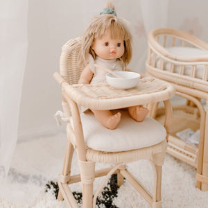Tiny Harlow Doll's Rattan Doll's High Chair - Angus & Dudley Collections