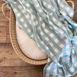 Milky Designs baby bay swaddle/wrap - Seamist Gingham - Angus & Dudley Collections