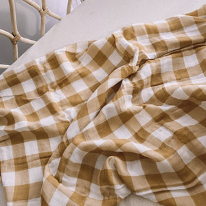 Milky Designs baby bay swaddle/wrap - Toffee Gingham - Angus & Dudley Collections