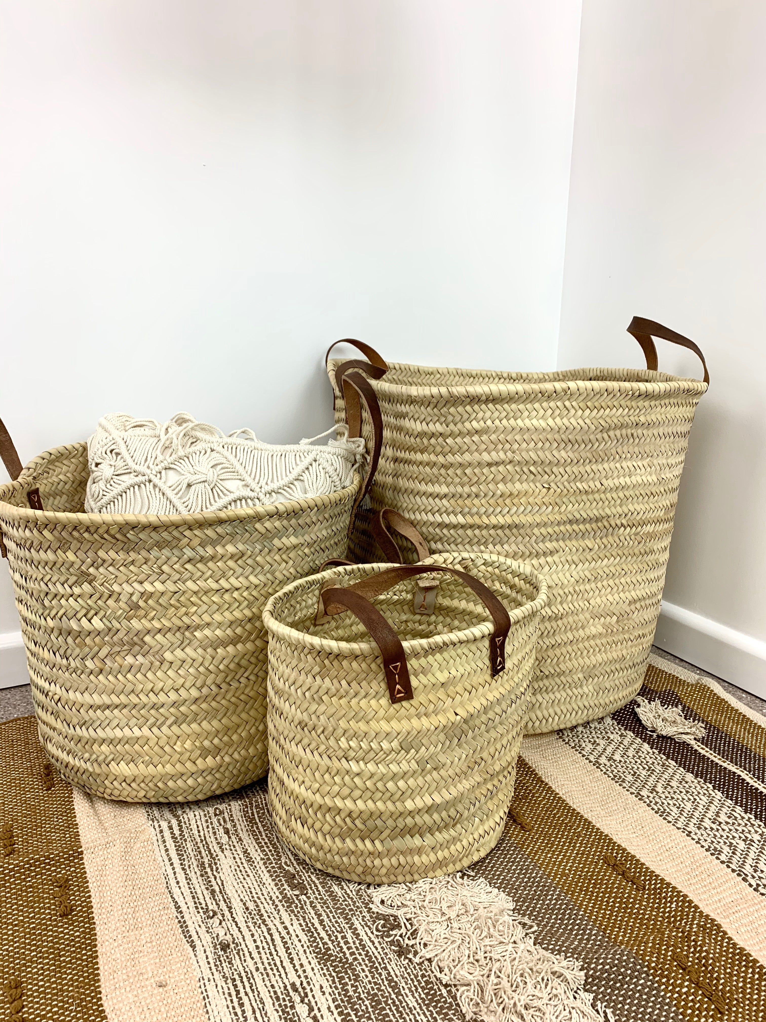 Palm Leaf Storage Baskets with Leather Handles