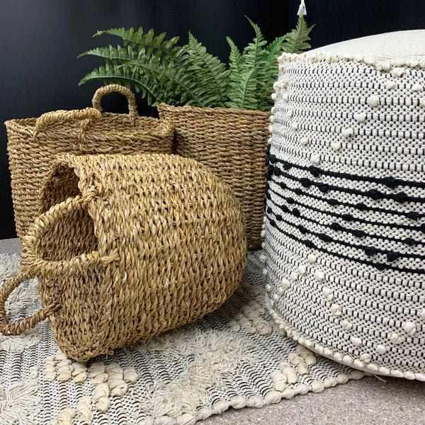 Seagrass Storage baskets with handles three sizes