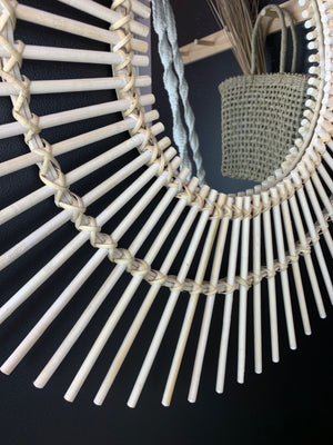 Round Natural Bamboo Sun Mirror - Medium - Angus & Dudley Collections