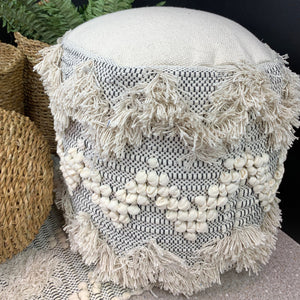 Natural Cotton Footstool - Zig Zag - Angus & Dudley Collections