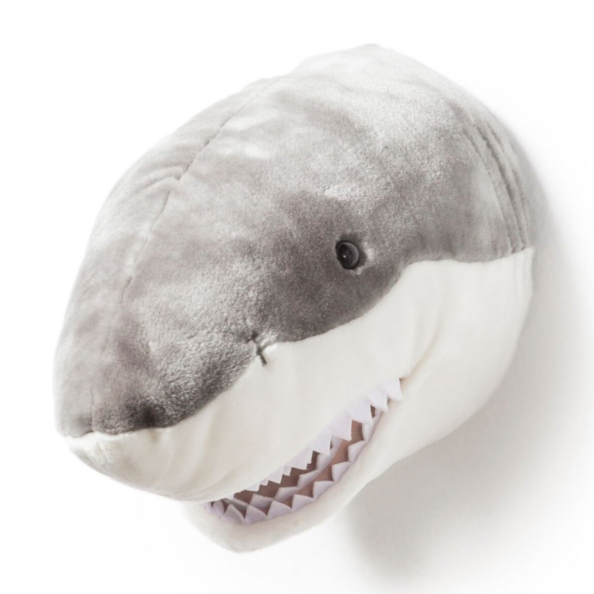 Wild and Soft Jack the Shark head plush wall decor.