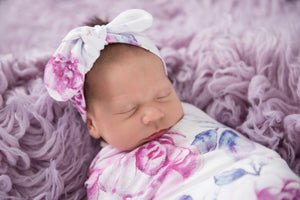 Baby Jersey Wrap & Topknot Set - Lilac Skies - Angus & Dudley Collections