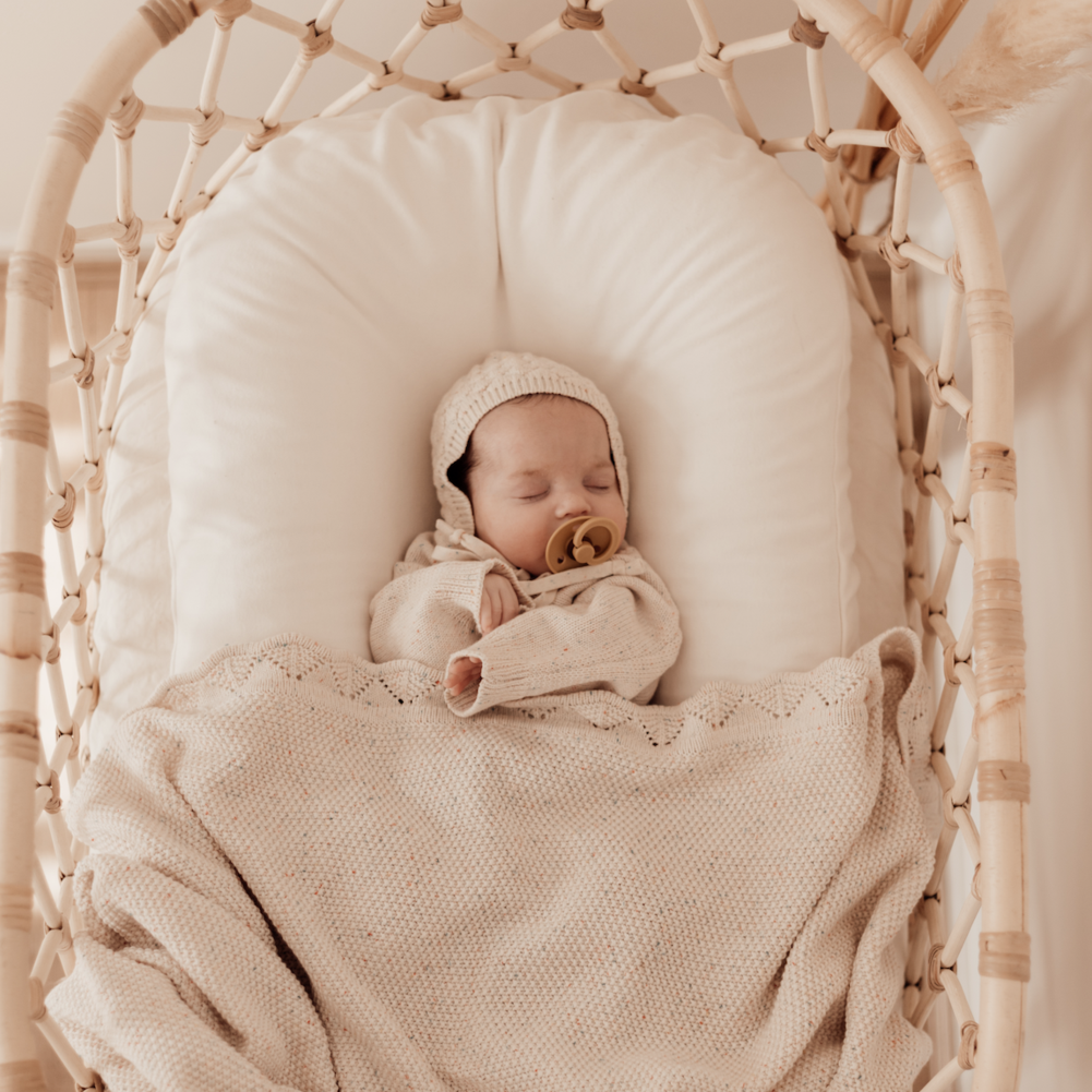 Ziggy Lou Baby cotton heirloom blanket -Oatmeal Fleck