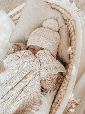 Ziggy Lou Heirloom Knit Cotton Blanket - Oatmeal Fleck