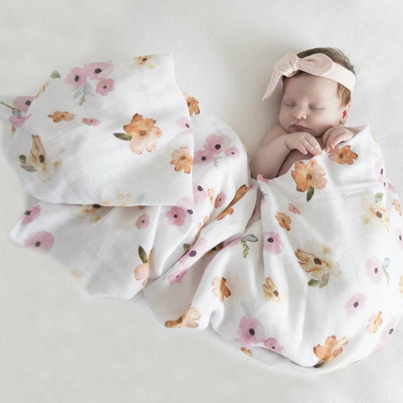 Snuggle Hunny Organic Cotton Baby Wrap/Swaddle - Poppy Flower