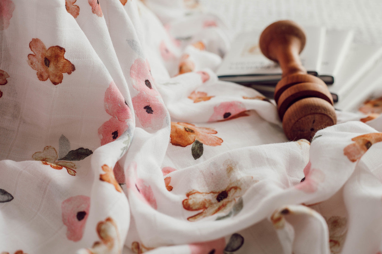Organic Muslin Wrap - Poppy - Angus & Dudley Collections