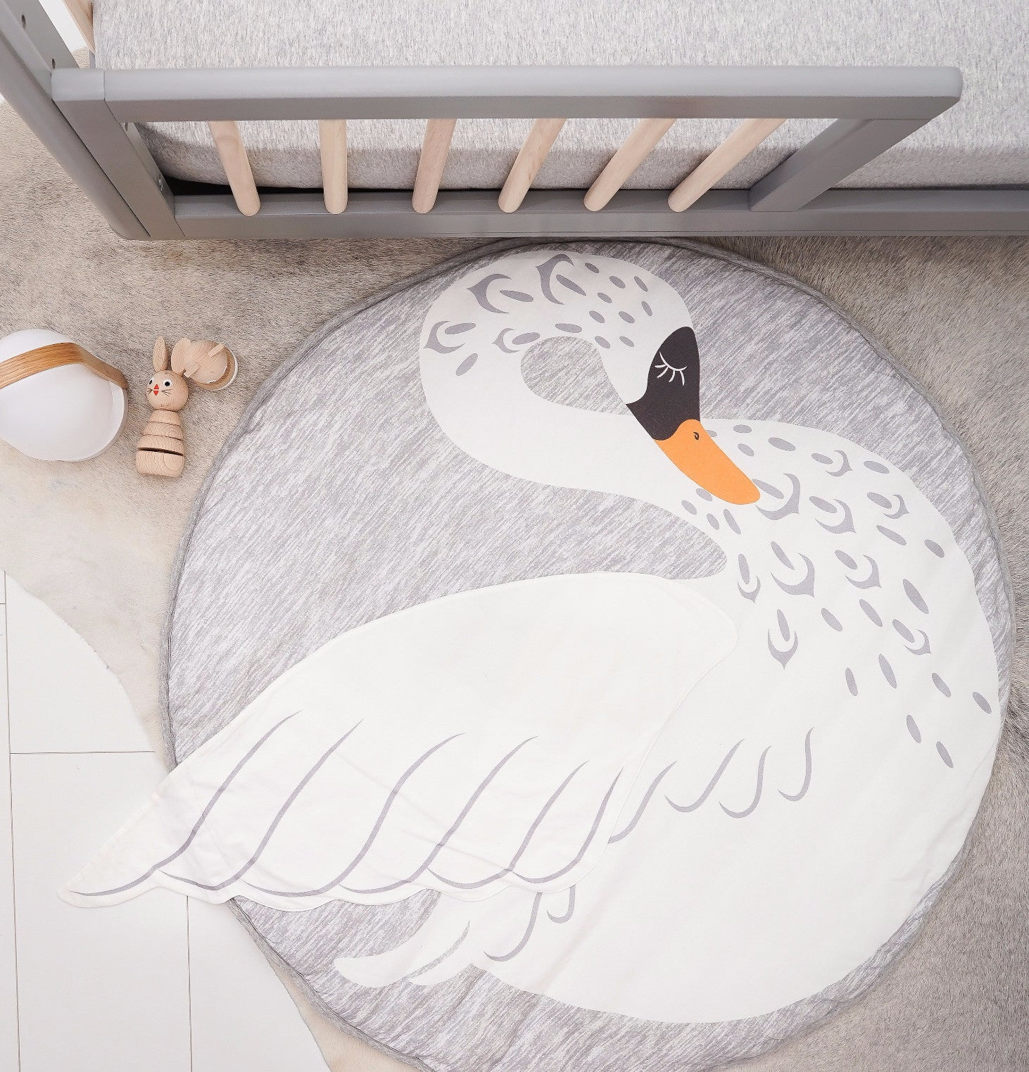 Swan cotton soft padded Mister Fly playmat or rug for baby