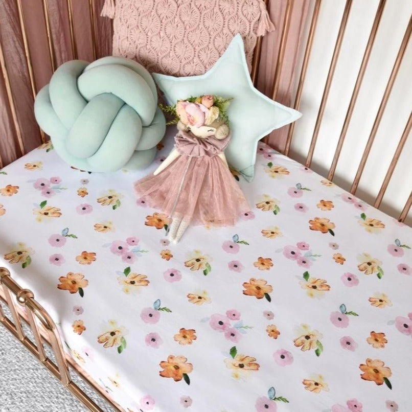 Snuggle Fitted Cot Sheet - Poppy - Angus & Dudley Collections