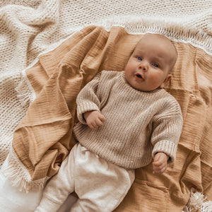 Ziggy Lou Fringed Sand/Natural Baby Newborn Swaddle Wrap