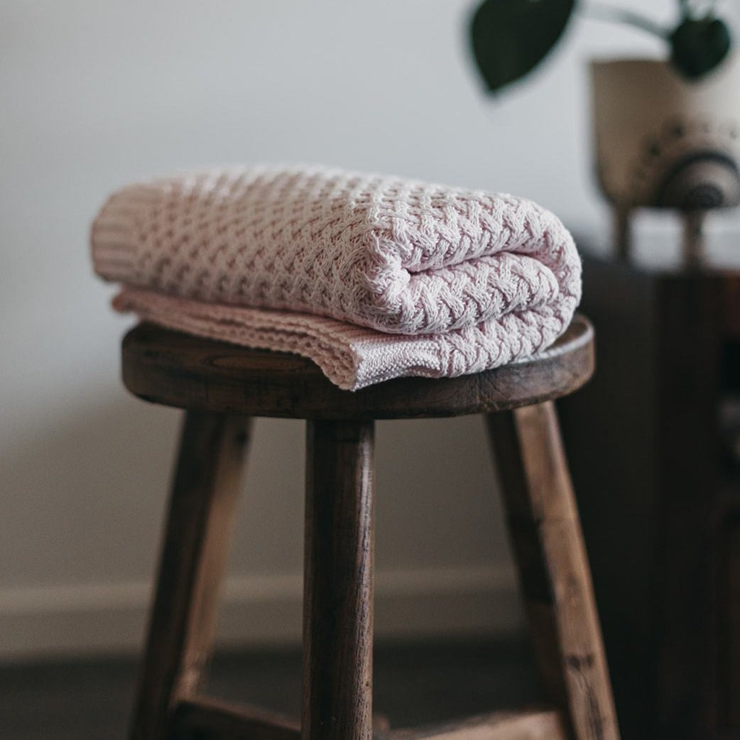 Snuggle Diamond Knit Blanket - Blush Pink - Angus & Dudley Collections